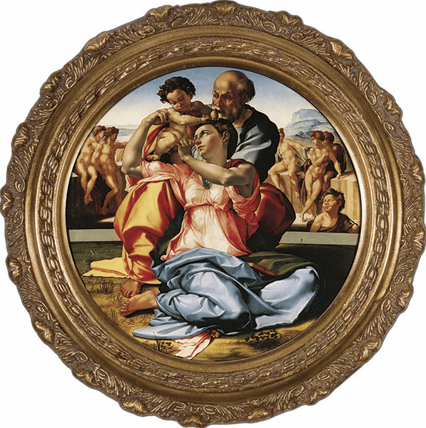 Round Holy Family by Michaelangelo Canvas Wall Art Picture by Nelson
