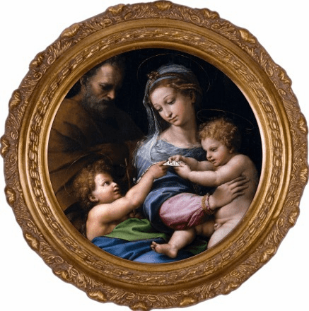 Round Holy Family Madonna della Rosa Canvas Framed Wall Art by Nelson