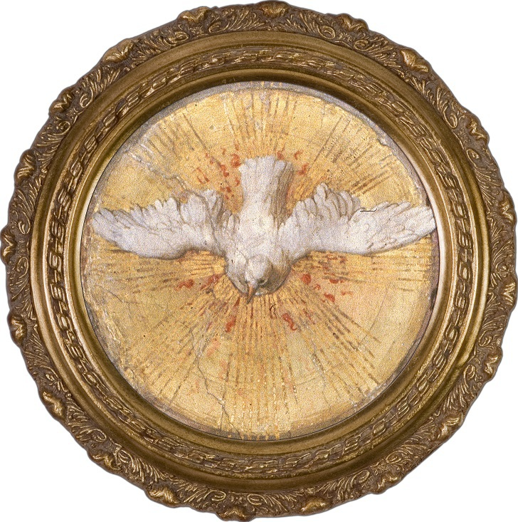 Round Holy Spirit Dove Canvas Framed Wall Art Picture By Nelson