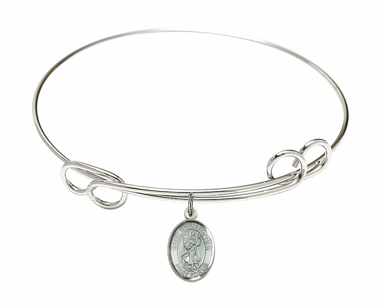 Round Loop Blue St Christopher Bangle Charm Bracelet by Bliss