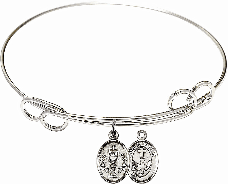 Round Loop Chalice Confirmation Bangle Charm Bracelet by Bliss