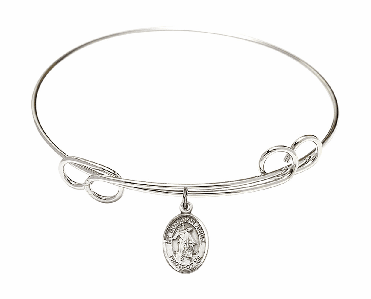 Round Loop Guardian Angel Bangle Charm Bracelet by Bliss