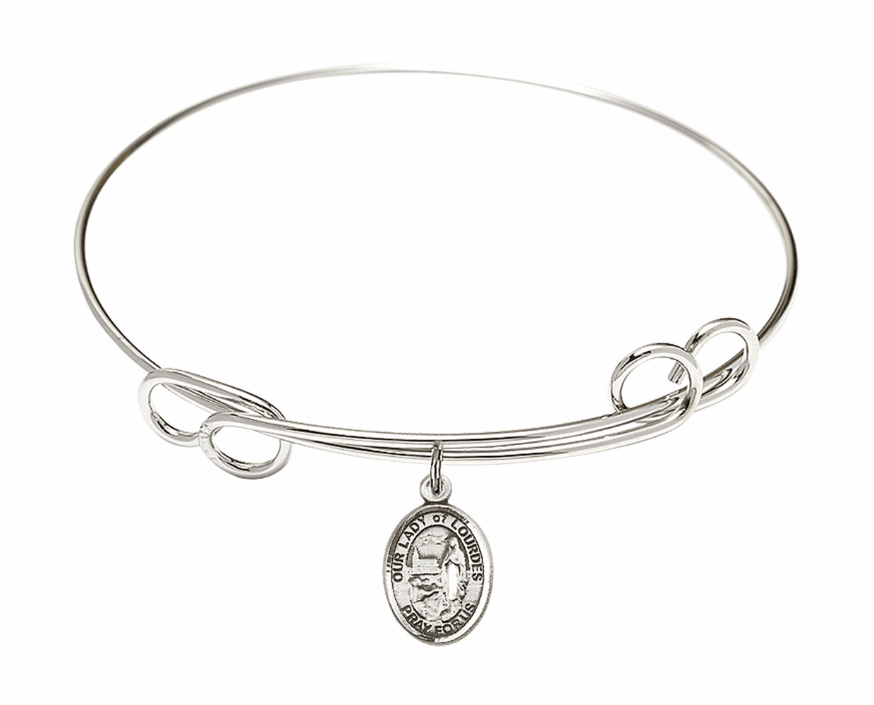 Round Loop Our Lady of Lourdes Bangle Charm Bracelet by Bliss