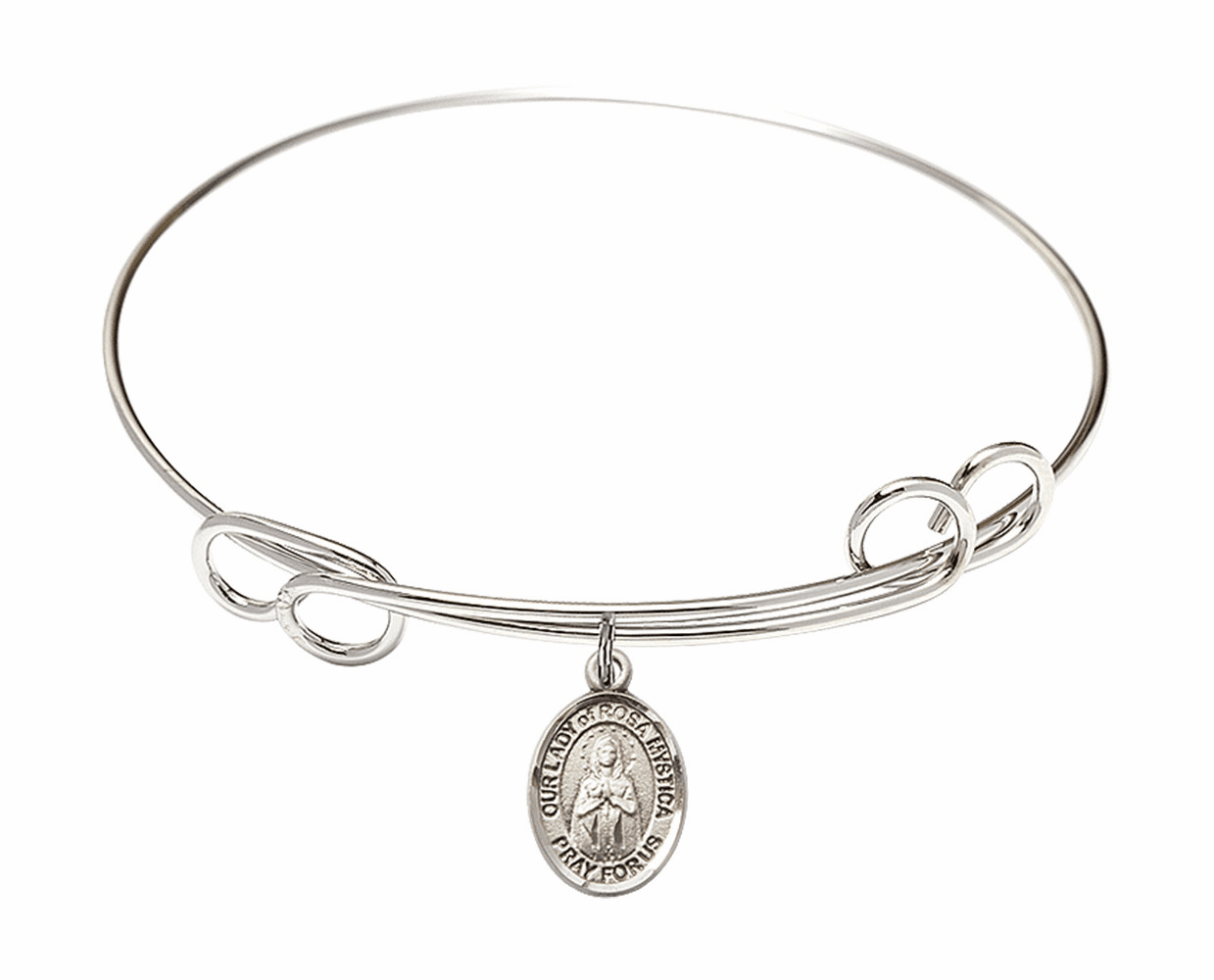Round Loop Our Lady of Rosa Mystica Bangle Charm Bracelet by Bliss