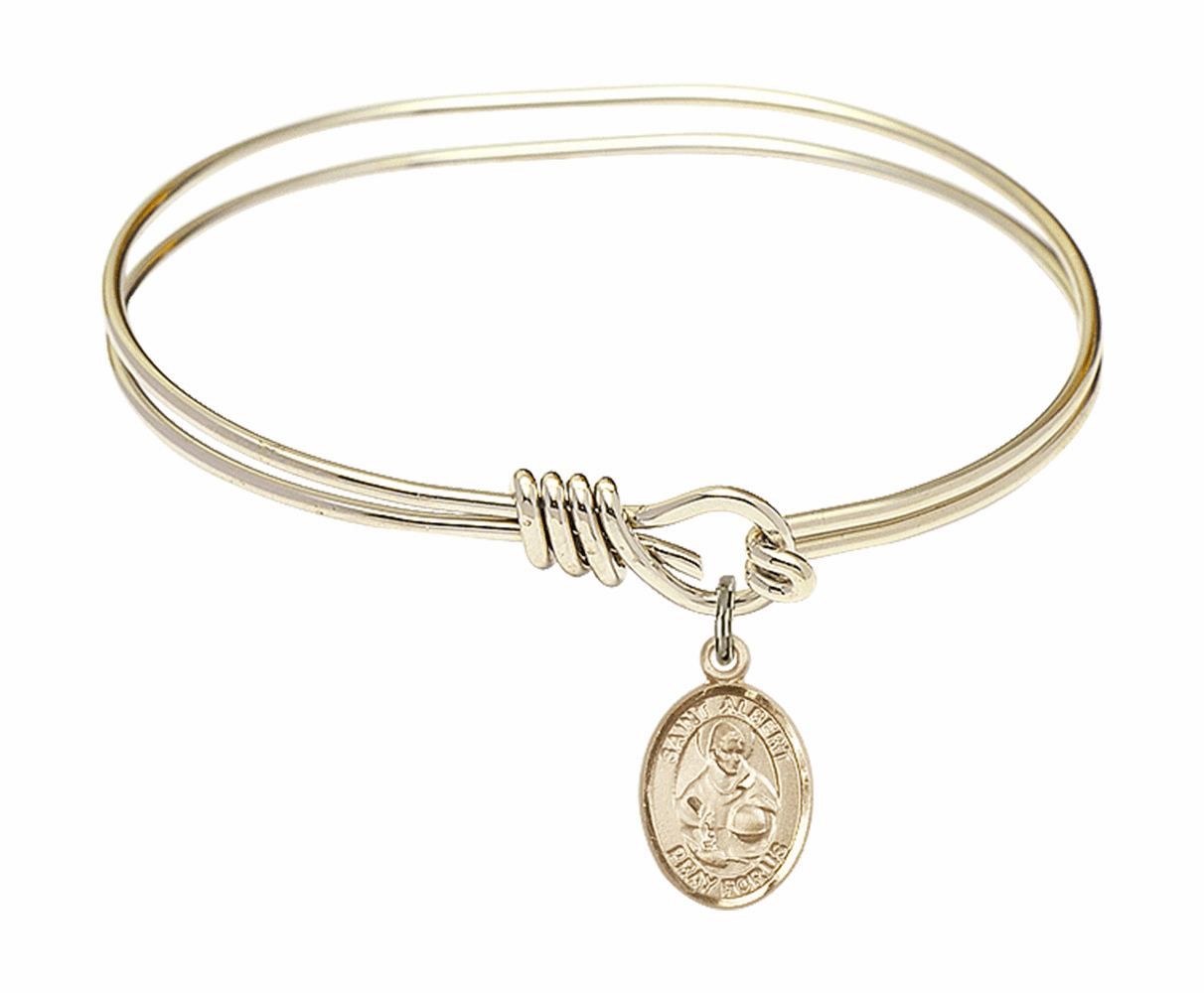 Round Loop St Albert the Great Bangle 14kt Gold-filled Charm Bracelet by Bliss