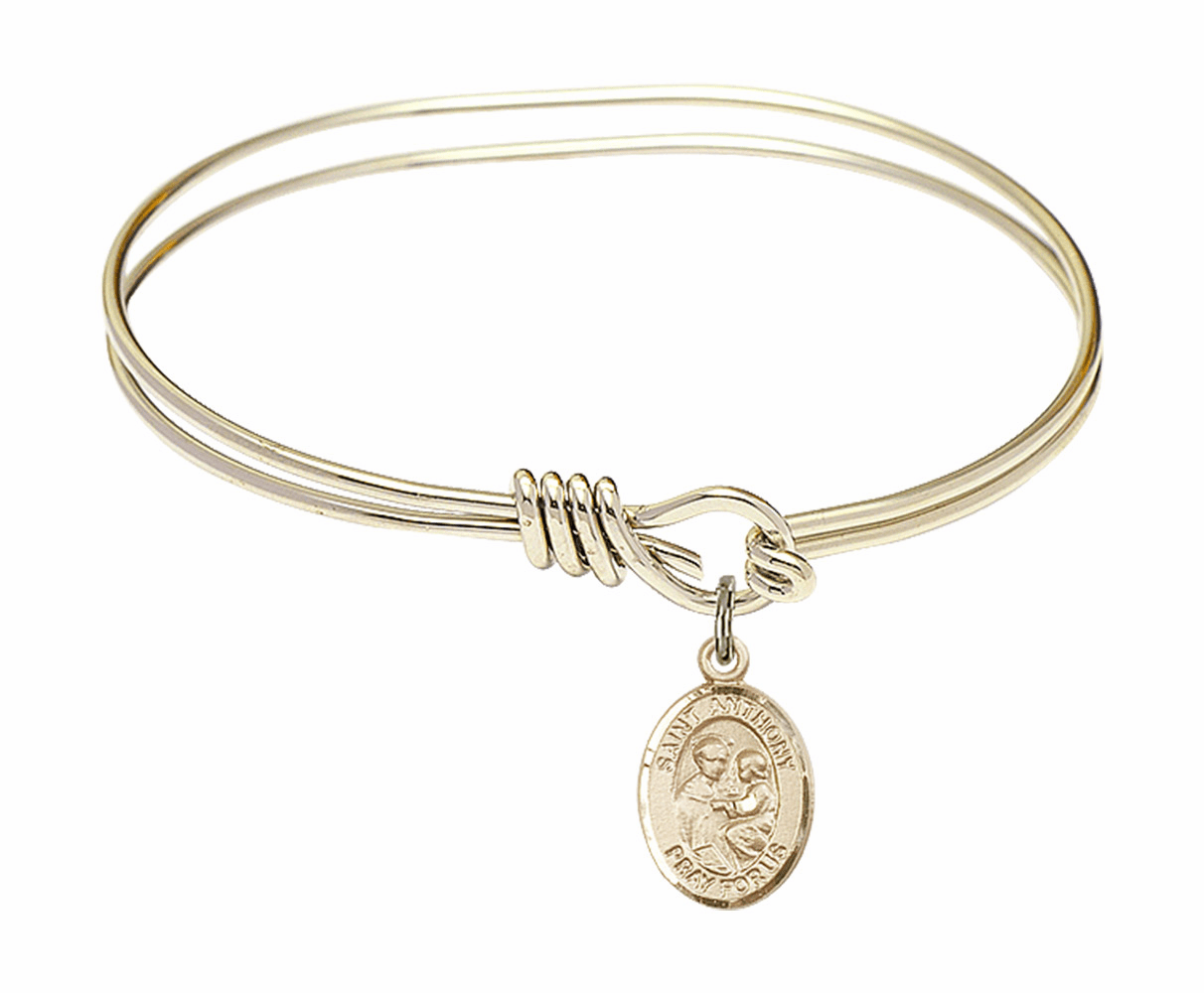 Round Loop St Anthony of Padua Bangle 14kt Gold-filled Charm Bracelet by Bliss