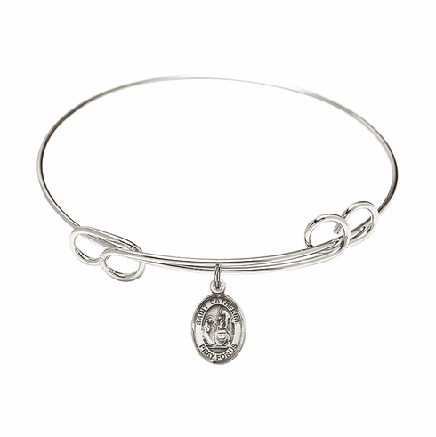 Round Loop St Catherine of Siena Bangle Charm Bracelet by Bliss