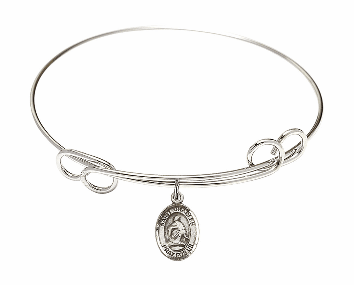 Round Loop St Charles Borromeo Bangle Charm Bracelet by Bliss