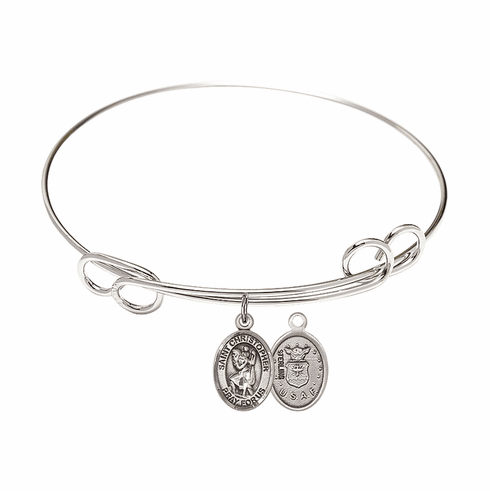 Round Loop St Christopher Air Force Bangle Charm Bracelet by Bliss