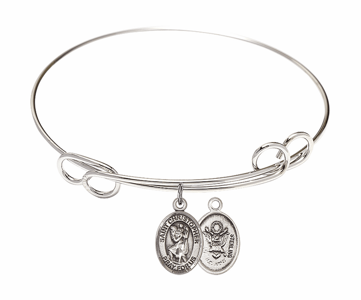 Round Loop St Christopher Army Bangle Charm Bracelet by Bliss