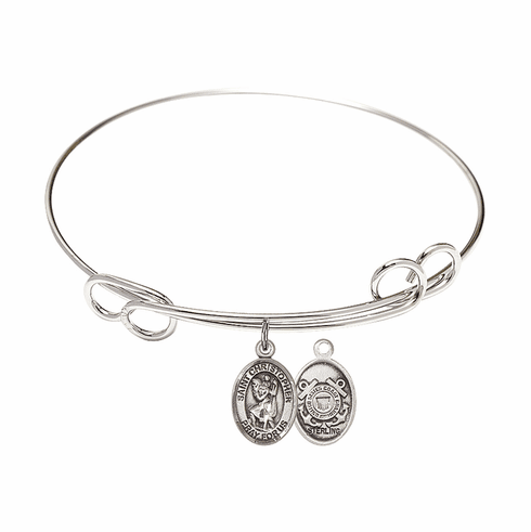 Round Loop St Christopher Coast Guard Bangle Charm Bracelet by Bliss