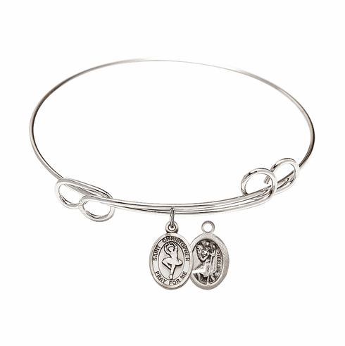 Round Loop St Christopher Dance Bangle Charm Bracelet by Bliss