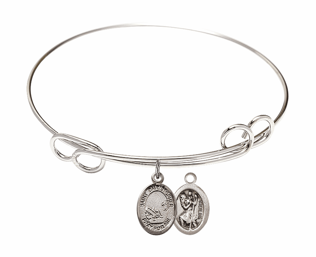 Round Loop St Christopher Fishing Bangle Charm Bracelet by Bliss