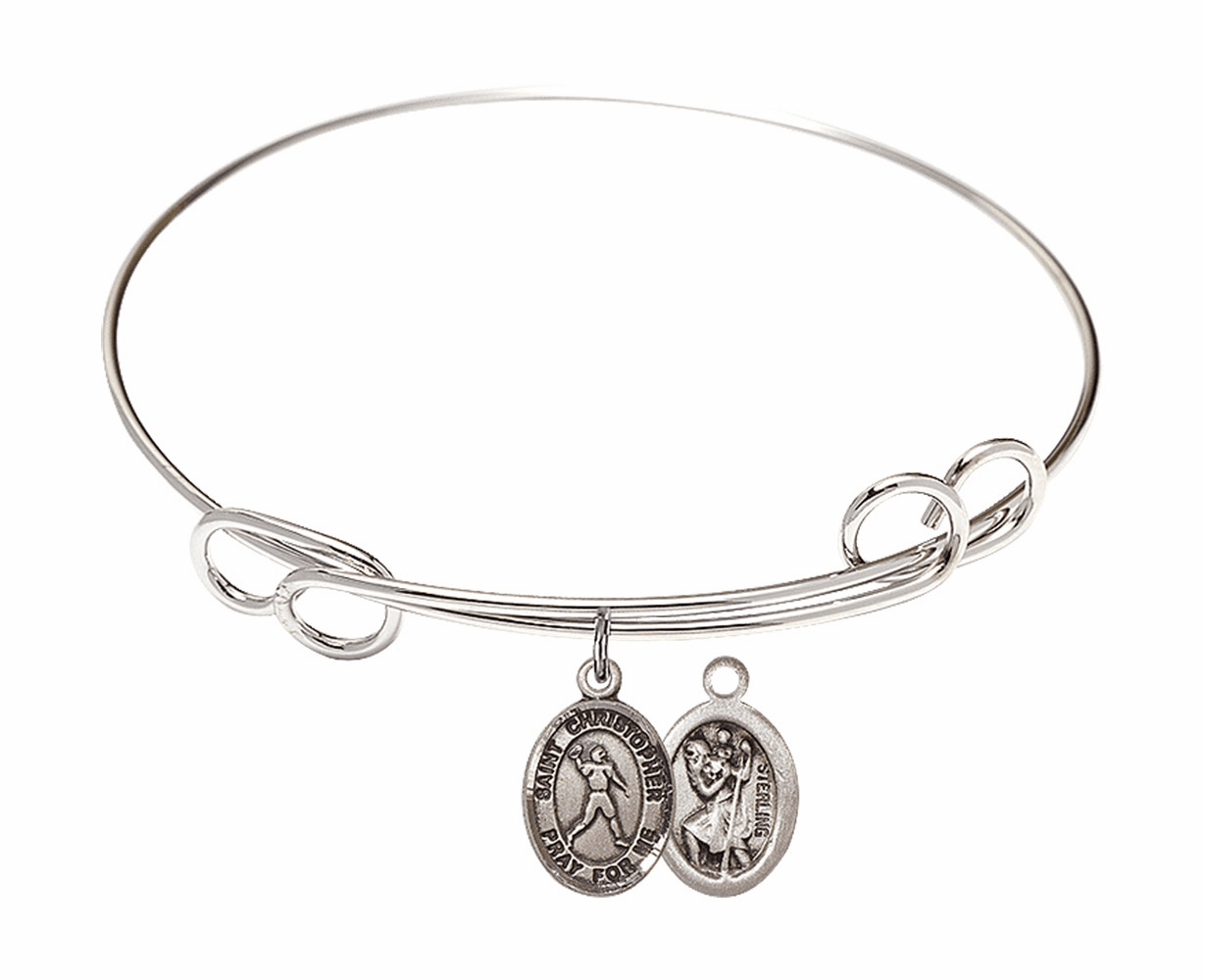 Round Loop St Christopher Football Bangle Charm Bracelet by Bliss