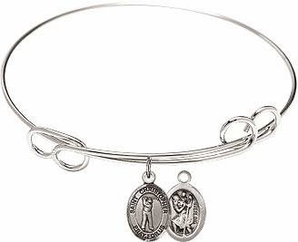 Round Loop St Christopher Golf Bangle Charm Bracelet by Bliss