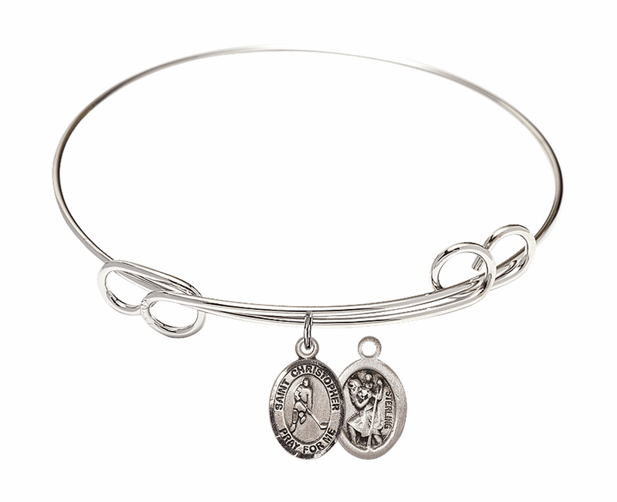 Round Loop St Christopher Ice Hockey Bangle Charm Bracelet by Bliss