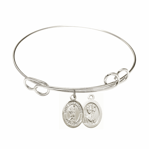 Round Loop St Christopher Lacrosse Bangle Charm Bracelet by Bliss