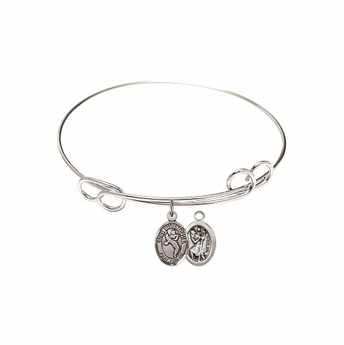 Round Loop St Christopher Martial Arts Bangle Charm Bracelet by Bliss
