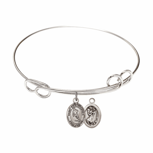 Round Loop St Christopher Rugby Bangle Charm Bracelet by Bliss