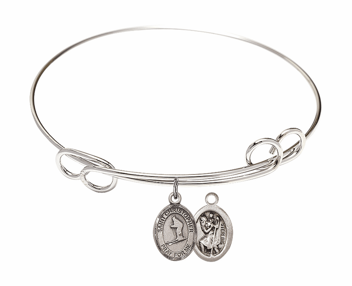 Round Loop St Christopher Skiing Bangle Charm Bracelet by Bliss