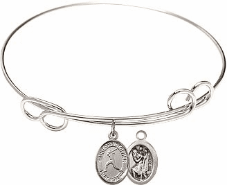 Round Loop St Christopher Softball Bangle Charm Bracelet by Bliss