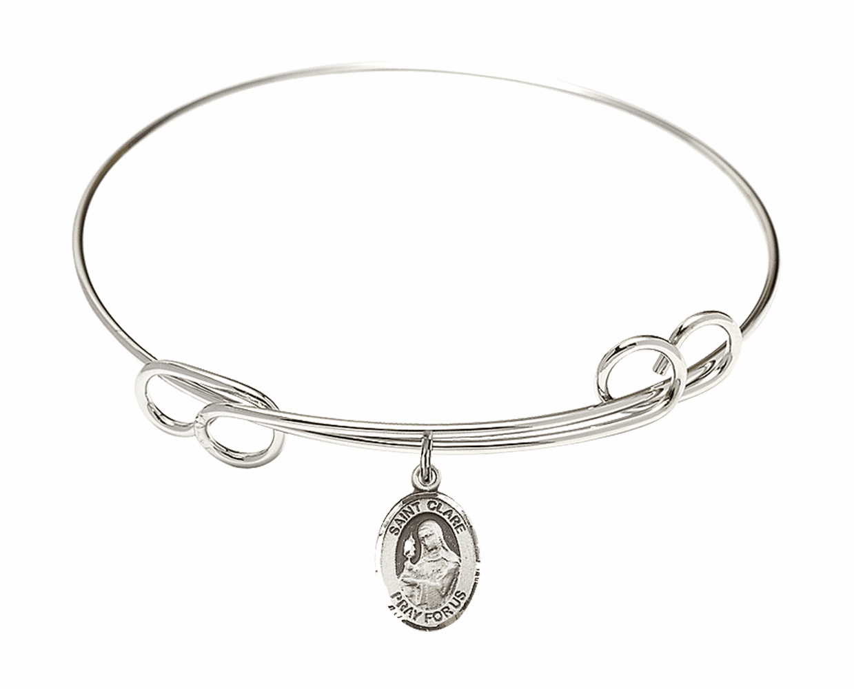 Round Loop St Clare of Assisi Bangle Charm Bracelet by Bliss