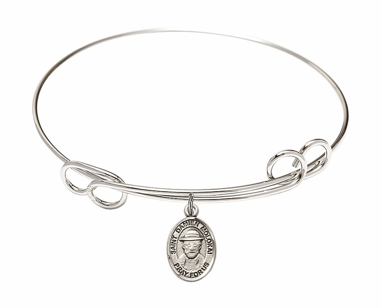 Round Loop St Damien of Molokai Bangle Charm Bracelet by Bliss