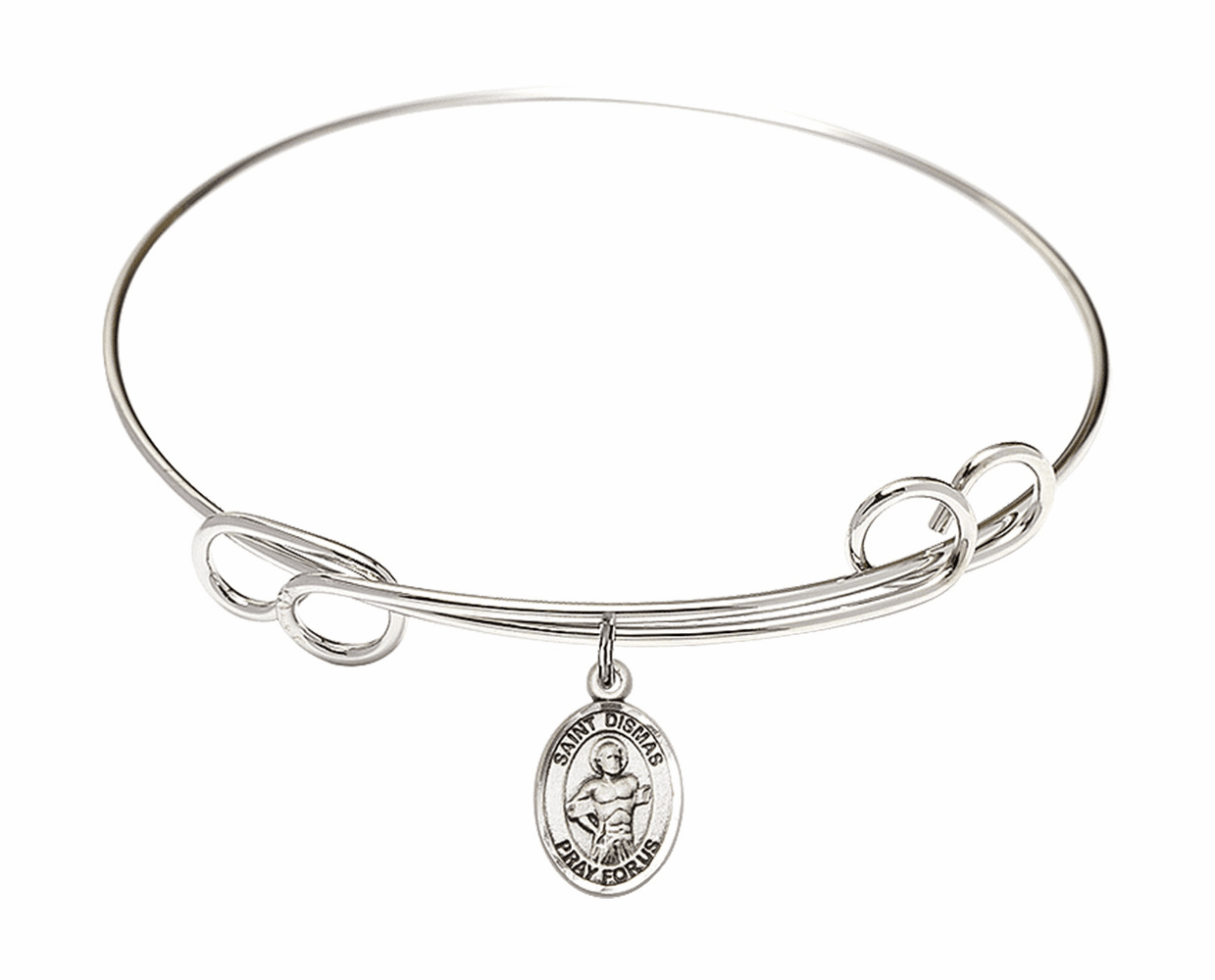Round Loop St Dismas Bangle Charm Bracelet by Bliss