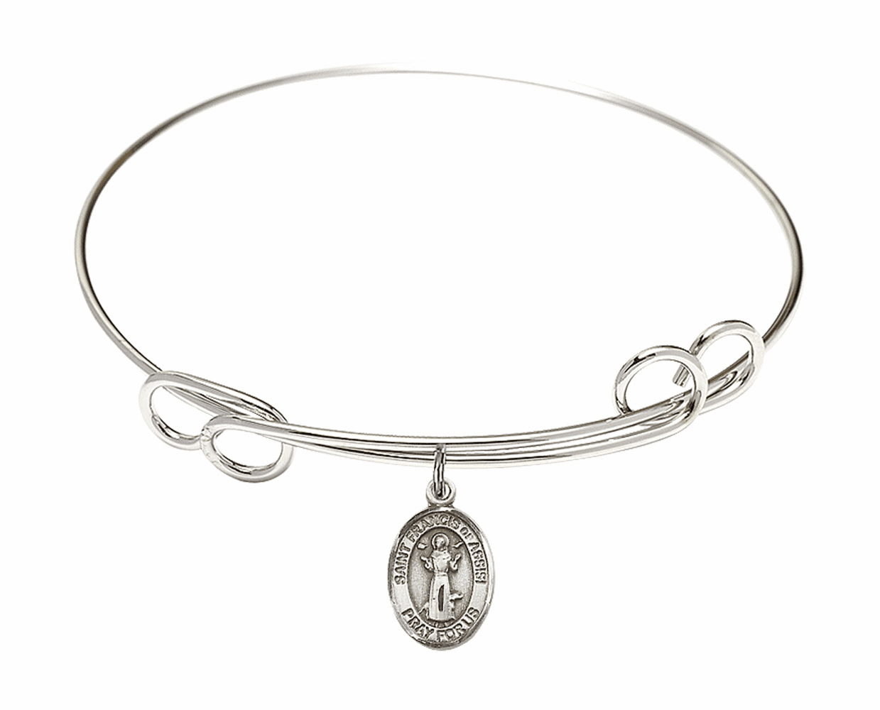Round Loop St Francis of Assisi Bangle Charm Bracelet by Bliss