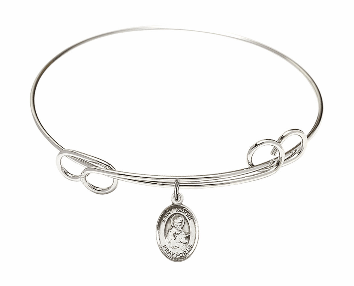 Round Loop St Isidore of Seville Bangle Charm Bracelet by Bliss