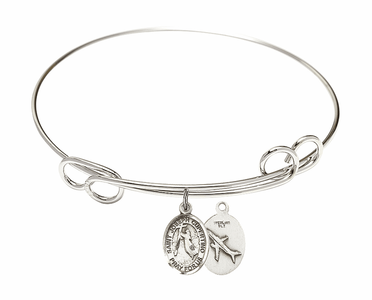 Round Loop St Joseph of Cupertino Airplane Bangle Charm Bracelet by Bliss