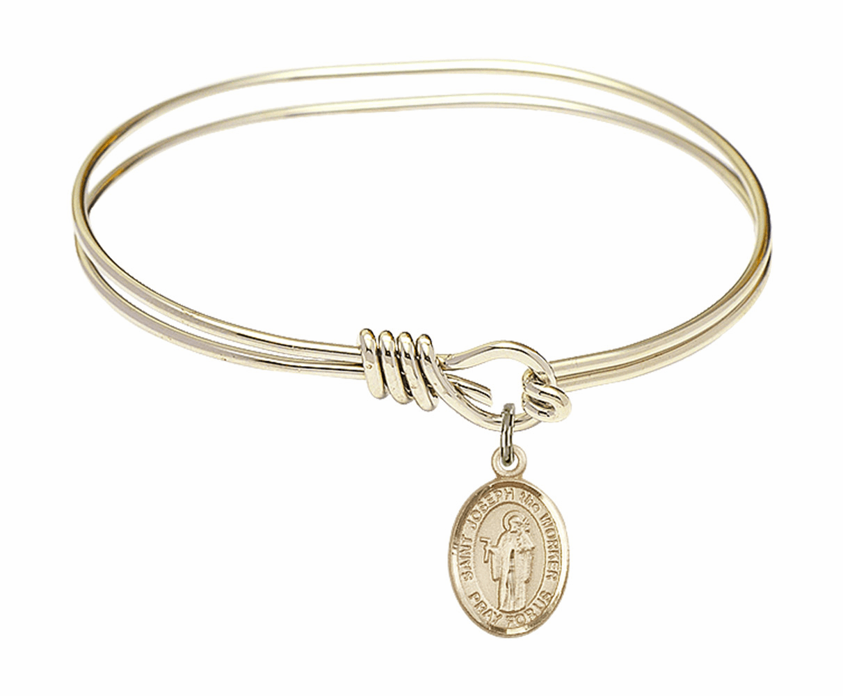 Round Loop St Joseph the Worker Bangle 14kt Gold-filled Charm Bracelet by Bliss