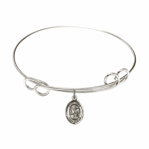 Round Loop St Luke the Apostle Bangle Charm Bracelet by Bliss