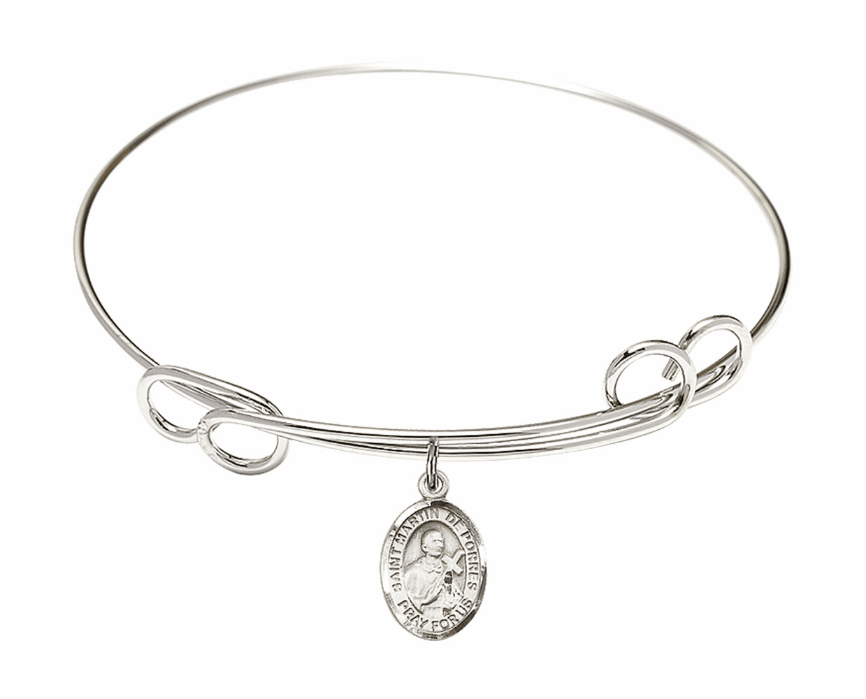 Round Loop St Martin de Porres Bangle Charm Bracelet by Bliss