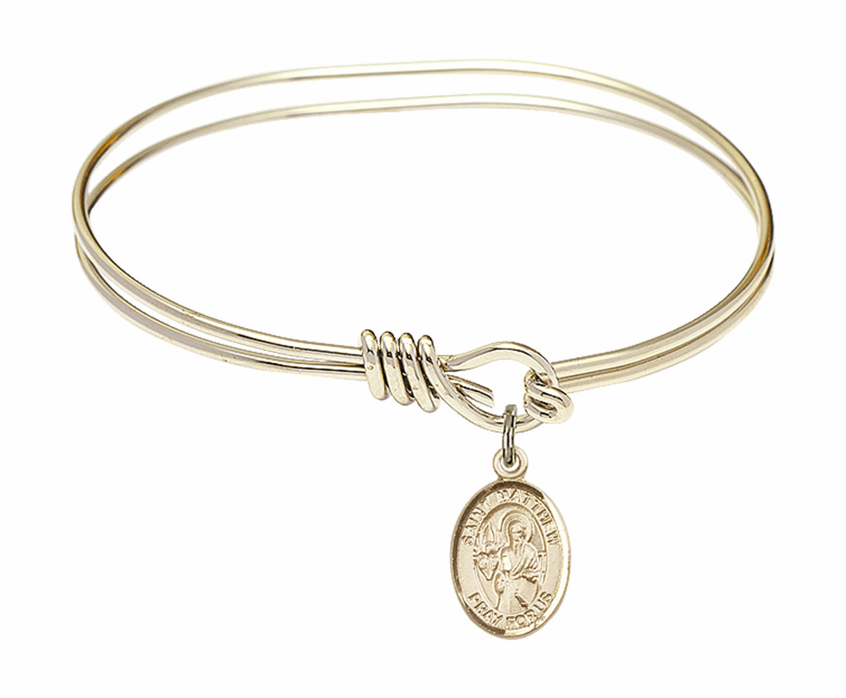 Round Loop St Matthew the Apostle Bangle 14kt Gold-filled Charm Bracelet by Bliss