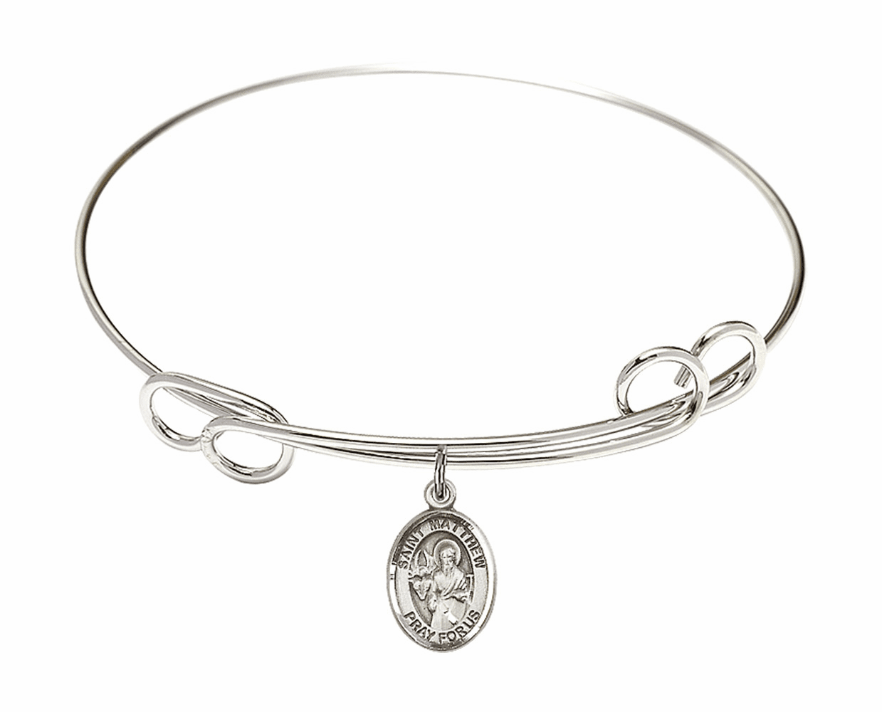 Round Loop St Matthew the Apostle Bangle Charm Bracelet by Bliss