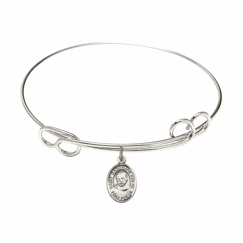 Round Loop St Maximilian Kolbe Bangle Charm Bracelet by Bliss