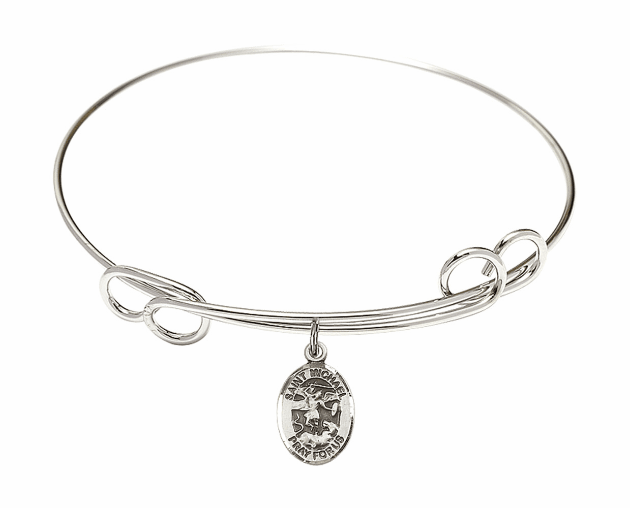 Round Loop St Michael the Archangel Bangle Charm Bracelet by Bliss