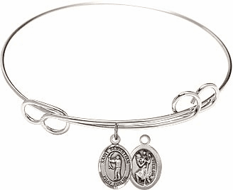 Round Loop St Sebastian Archery Bangle Charm Bracelet by Bliss