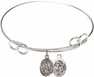Round Loop St Sebastian Baseball Bangle Charm Bracelet by Bliss