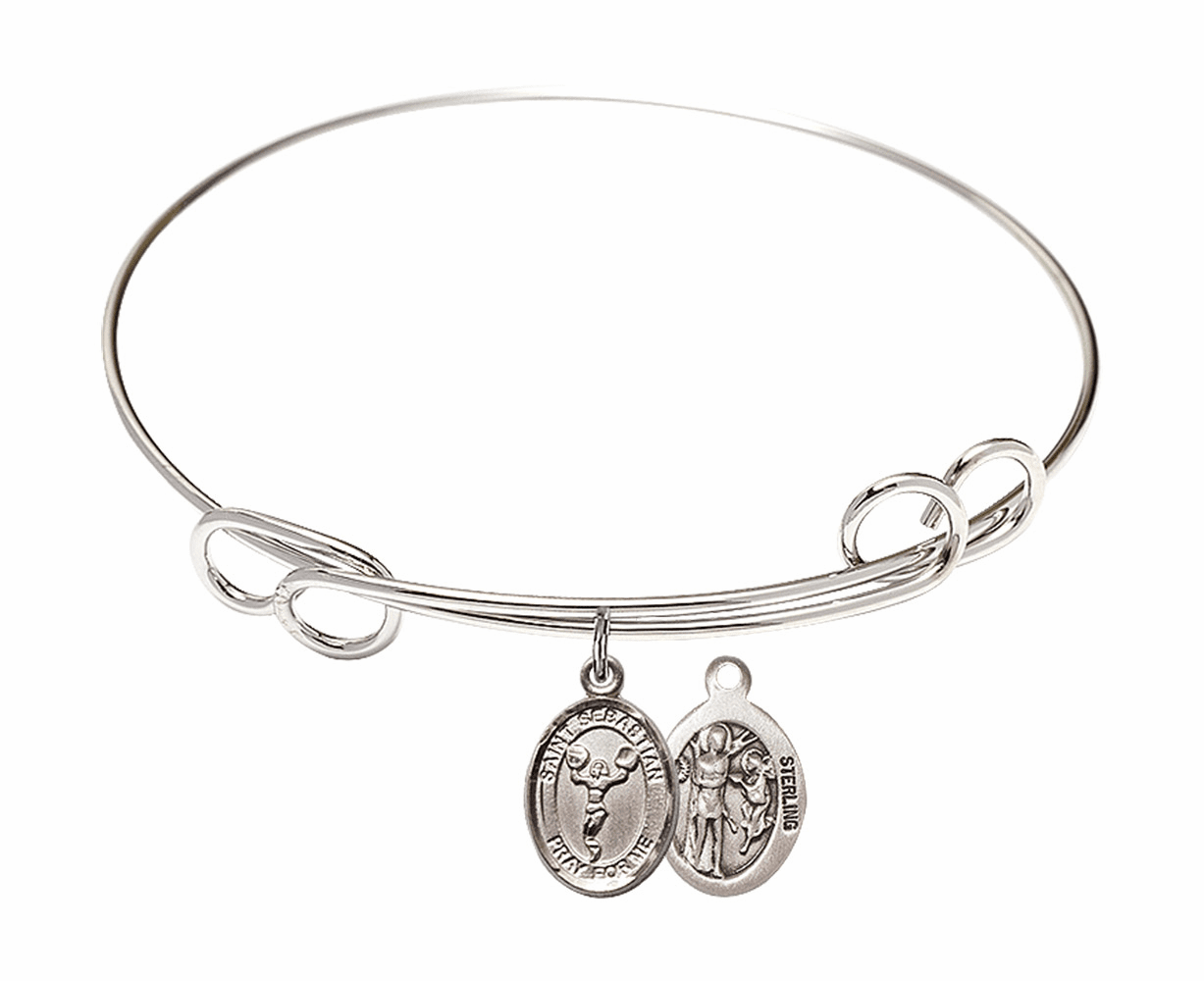 Round Loop St Sebastian Cheerleading Bangle Charm Bracelet by Bliss