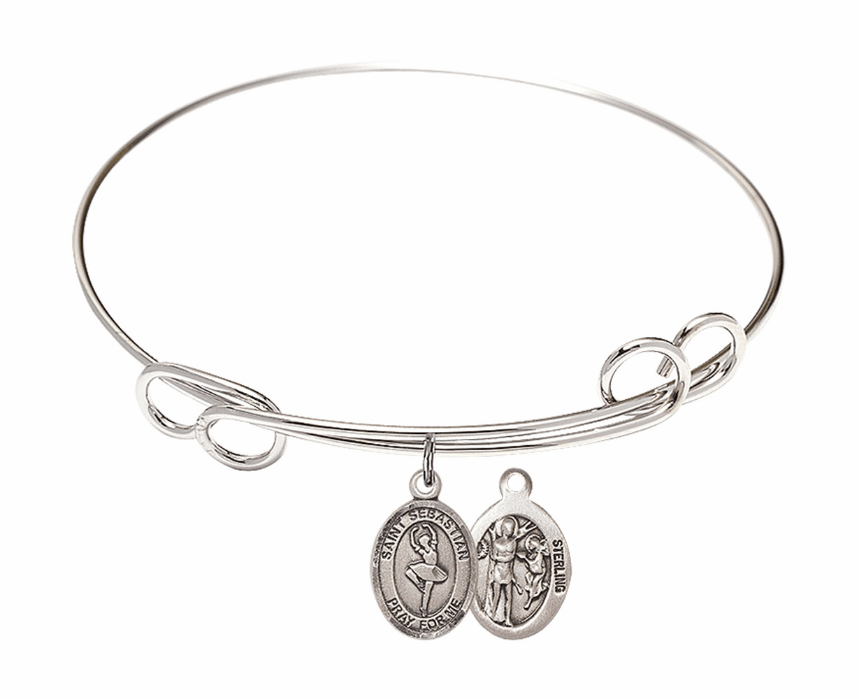 Round Loop St Sebastian Dance Bangle Charm Bracelet by Bliss
