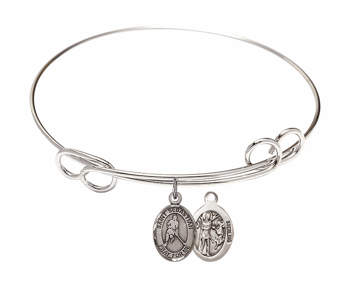 Round Loop St Sebastian Ice Hockey Bangle Charm Bracelet by Bliss