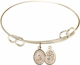 Round Loop St Sebastian Skiing Bangle Charm Bracelet by Bliss