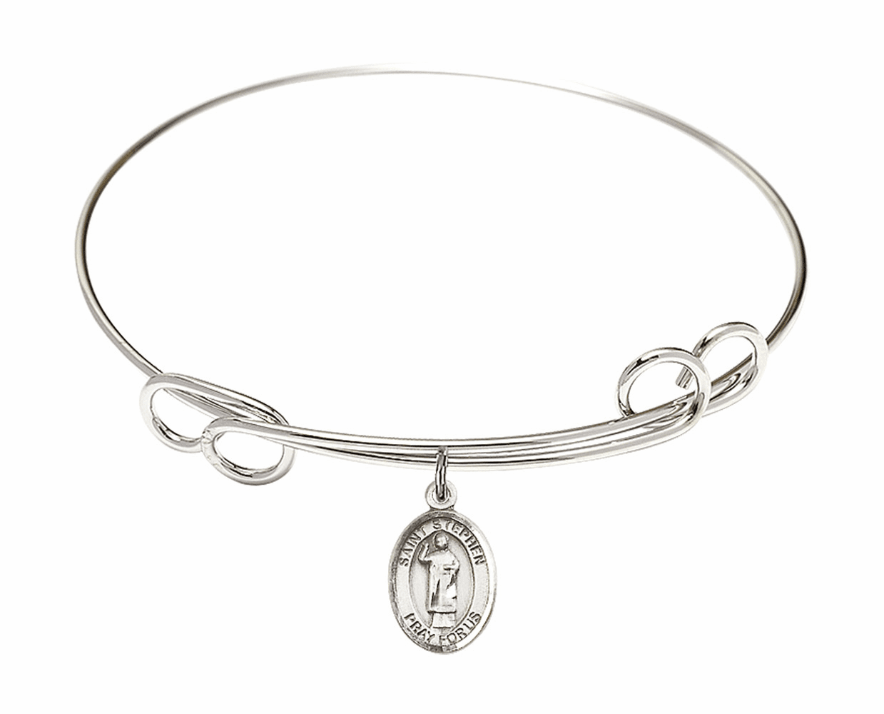 Round Loop St Stephen the Martyr Bangle Charm Bracelet by Bliss