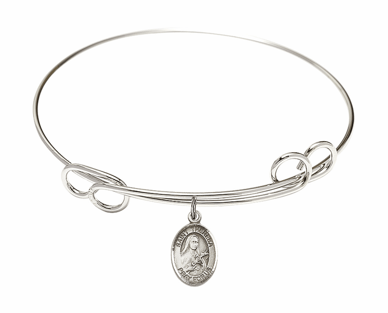 Round Loop St Theresa Bangle Charm Bracelet by Bliss