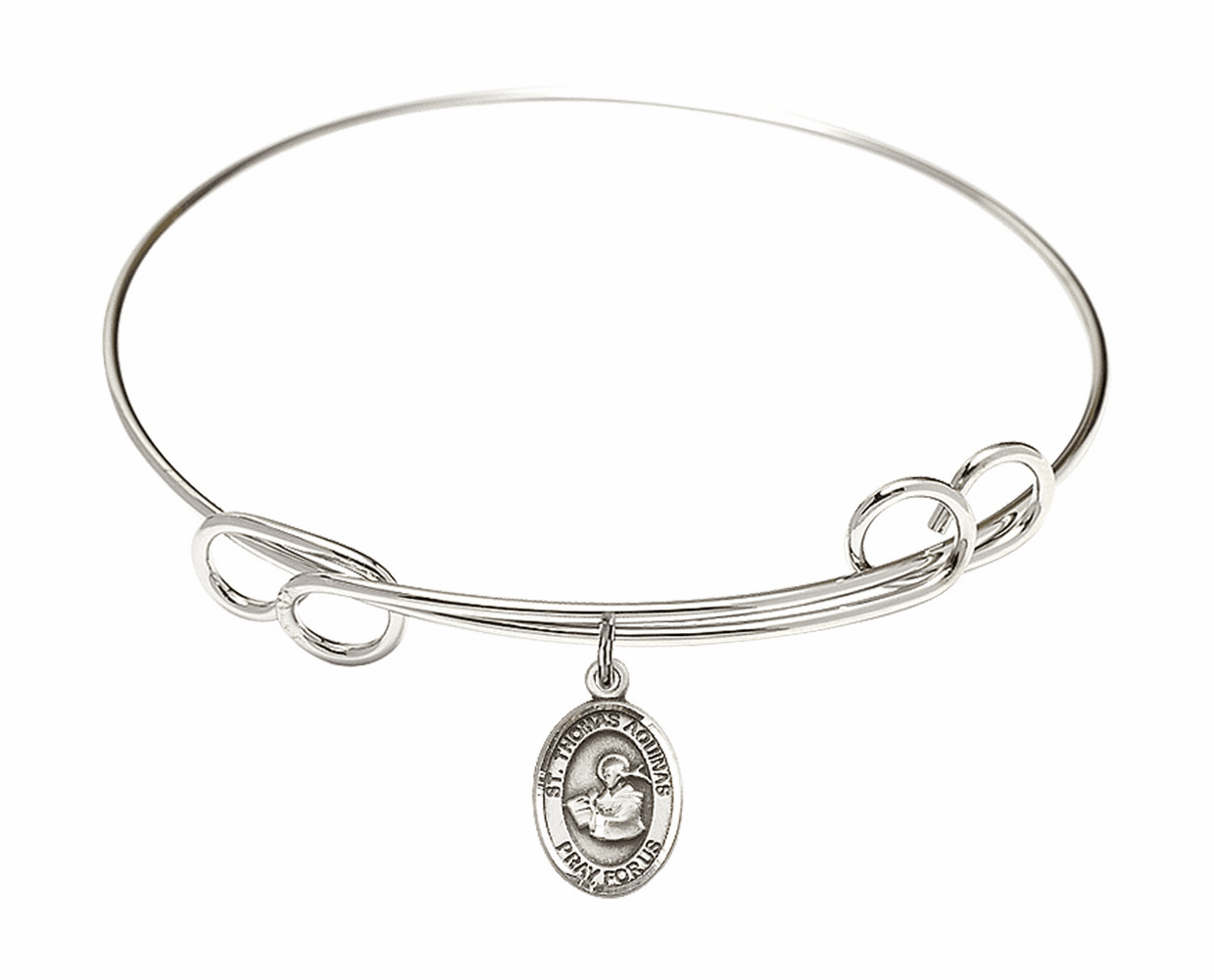 Round Loop St Thomas Aquinas Bangle Charm Bracelet by Bliss