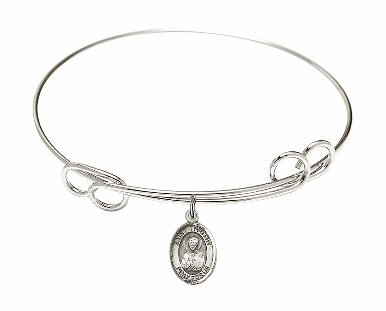 Round Loop St Timothy Bangle Charm Bracelet by Bliss