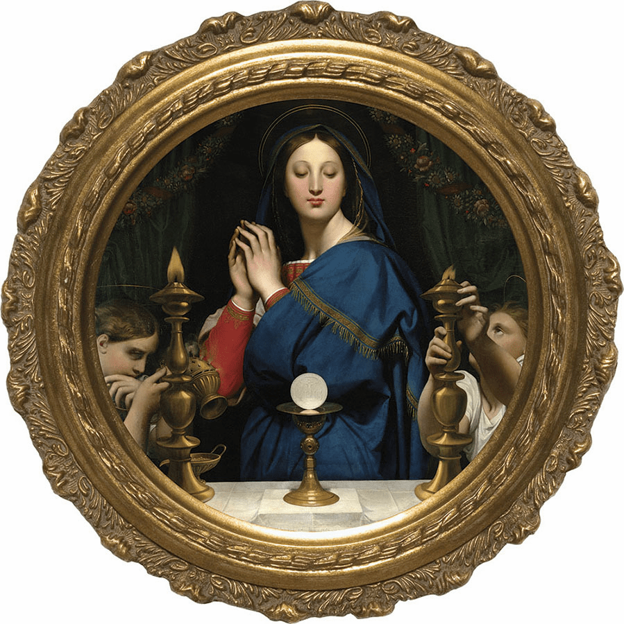 Round Madonna of the Host Canvas Framed Wall Art Picture by Nelson