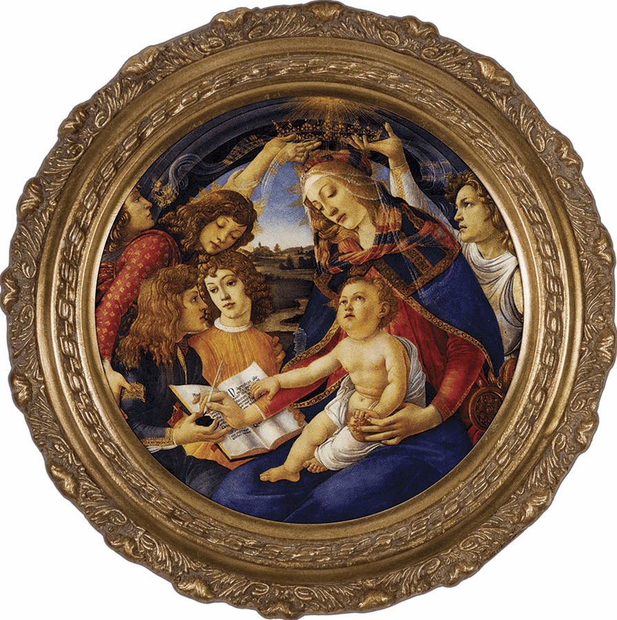 Round Madonna of the Magnificat Canvas Framed Wall Art Picture by Nelson